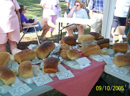 Many people came to show off their loaves of bread. Click the photo to see a closer view.